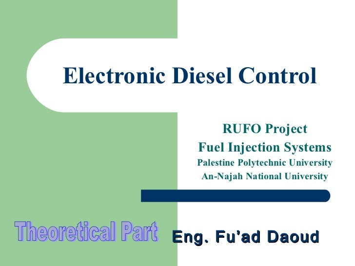 Electronic Diesel Control RUFO Project Fuel Injection Systems Palestine Polytechnic University An-Najah National Universit...