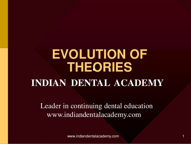 EVOLUTION OF THEORIES • INDIAN DENTAL ACADEMY Leader in continuing dental education www.indiandentalacademy.com www.indian...