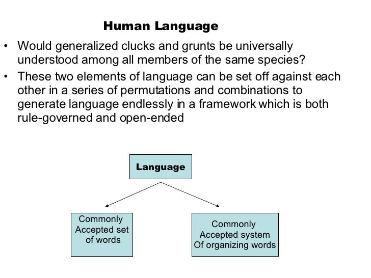 Human Language <ul><li>Would generalized clucks and grunts be universally understood among all members of the same species...