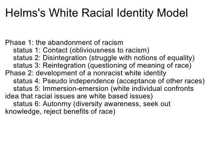 racial identity model Ethnic identity development: understanding the process francisco salinas, ma developmental model of cultural identity for the individual (rid - racial identity development) - janet.