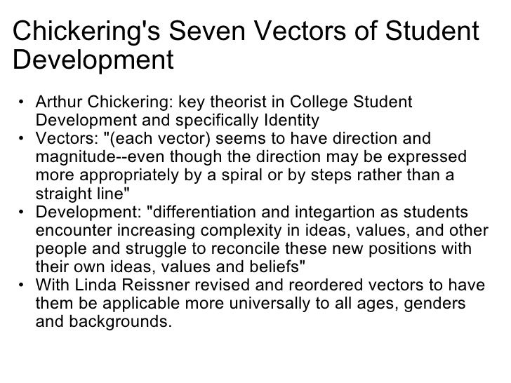 chickering theory and the seven vectors The seven vectors: an overview by arthur chickering lasting personality changes theory can give us the lenses documents similar to chickering - the seven vectors.