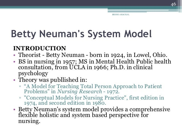 neuman system model in nursing practice The neuman's systems model is utilized in a number of areas in the practice of nursing it is applied in the education of nursing students, clinical practice, research.