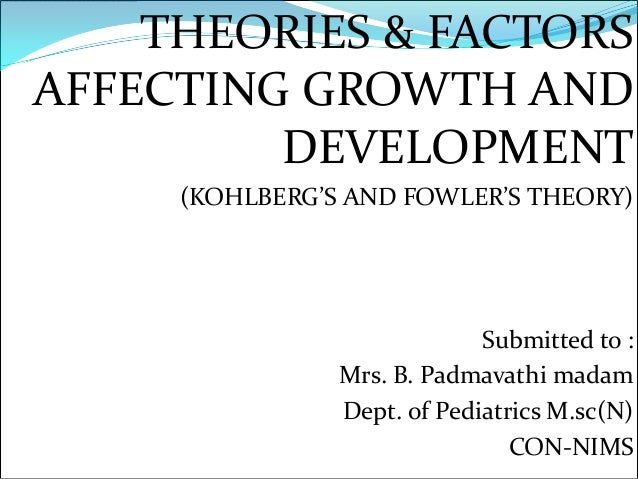 THEORIES & FACTORSAFFECTING GROWTH AND         DEVELOPMENT     (KOHLBERG'S AND FOWLER'S THEORY)                           ...