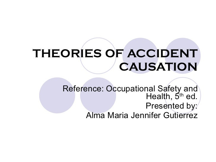 THEORIES OF ACCIDENT CAUSATION Reference: Occupational Safety and Health, 5 th  ed. Presented by: Alma Maria Jennifer Guti...