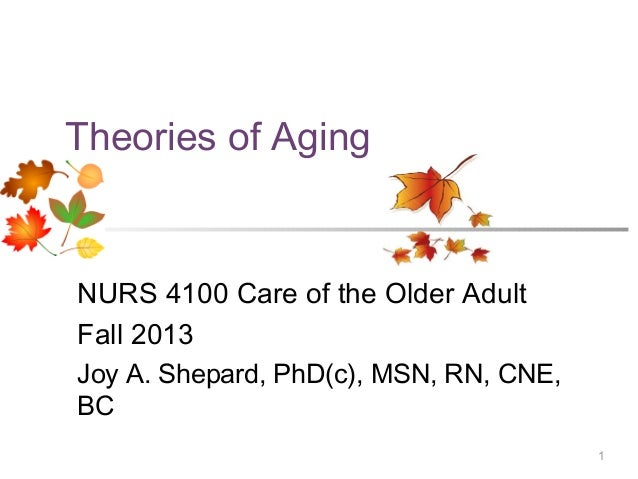 1Theories of AgingNURS 4100 Care of the Older AdultFall 2013Joy A. Shepard, PhD(c), MSN, RN, CNE,BC