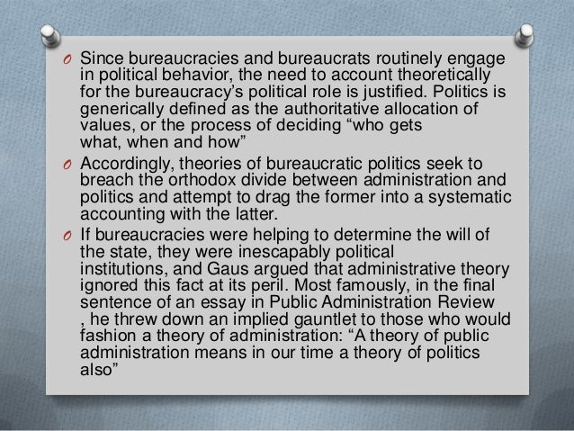 politic administration dichotomy The idea of a politics-administration dichotomy has long  gives way to the  political affiliation as a core basis of.