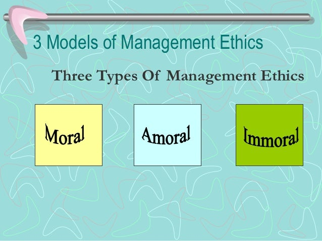 Three Models of ManagementMorality and Emphasis on CSR
