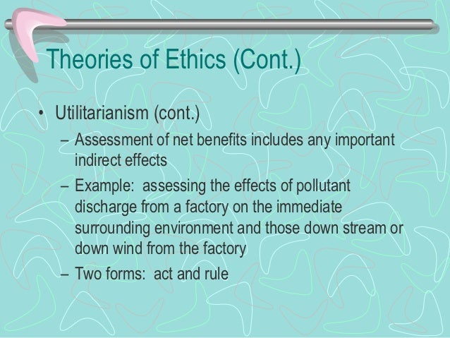 Theories of Ethics (Cont.)• Utilitarianism (cont.)   – Rule utilitarianism asks a person to assess actions     according t...