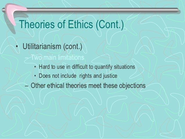 Theories of Ethics (Cont.)• Rights (cont.)   – Features      • Respect the rights of others      • Lets people act as equa...