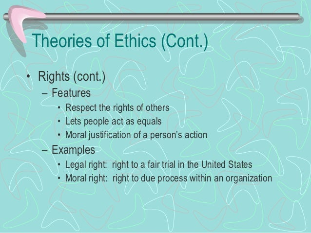 Theories of Ethics (Cont.)• Rights (cont.)   – Types of rights      • Negative rights: do not interfere with another perso...