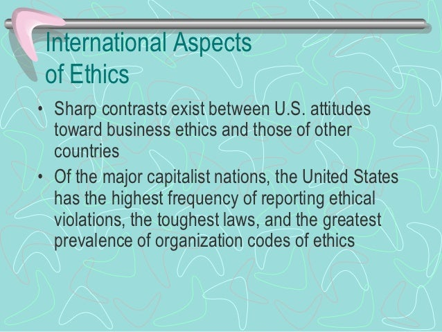 International Aspectsof Ethics (Cont.)• Ethical views (cont.)  - Cultural relativism     • Cultural relativism refers to d...