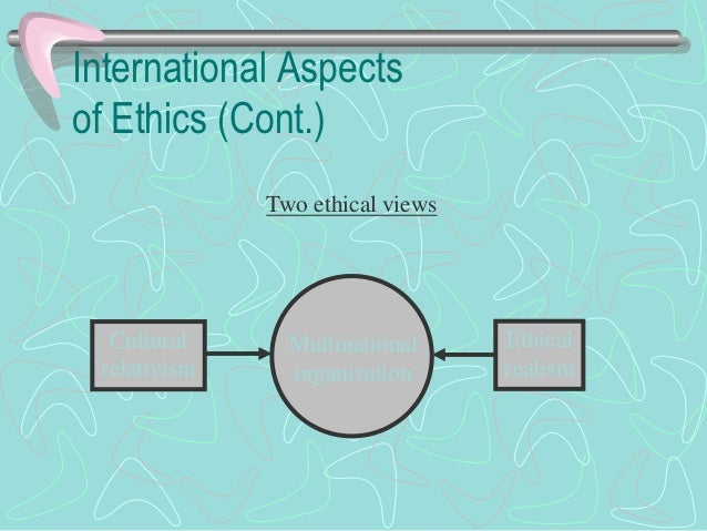 International Aspectsof Ethics (Cont.)• Ethical views (cont.)  - Cultural relativism(cont.)     • Three points        – Mo...