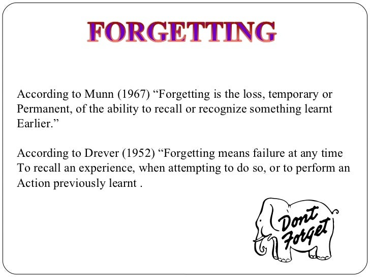 According to Munn           Forgetting is the loss  temporary orPermanent
