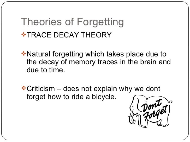 the theories of forgetting Meaning and causes of forgetting  there is variety of theories that explains forgetting here are some of the major types and causes of forgetting fading.