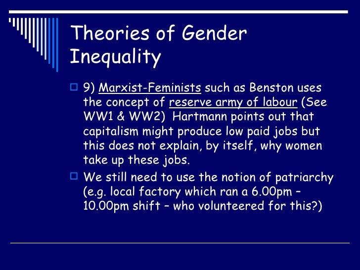 gender inequality theories of patriarchy Know what is gender inequality in india, its definition, concept, causes and forms of gender inequality also know legal and constitutional safeguards against gender inequality.