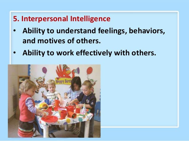 6. Intrapersonal Intelligence • Ability to understand personal strengths, weaknesses, talents, and interests. • Knowledge ...