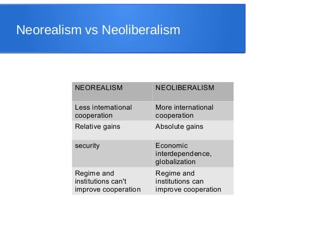 strengths and weaknesses of neorealism neoliberalism and Strengths and weaknesses of neorealism, neoliberalism and constructivism 1390 words | 6 pages strengths and weaknesses of neorealism, neoliberalism and.