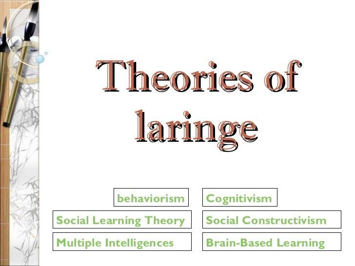 Theories of laringe Social Learning Theory behaviorism Multiple Intelligences Social Constructivism Brain-Based Learning C...