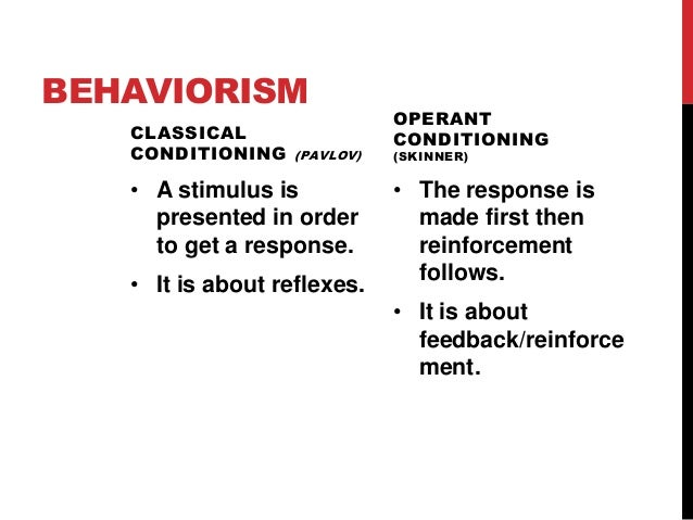 BEHAVIORISM CLASSICAL CONDITIONING  (PAVLOV)  • A stimulus is presented in order to get a response. • It is about reflexes...