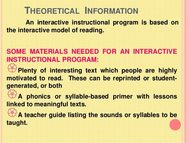 reading theories and their relationship to instruction
