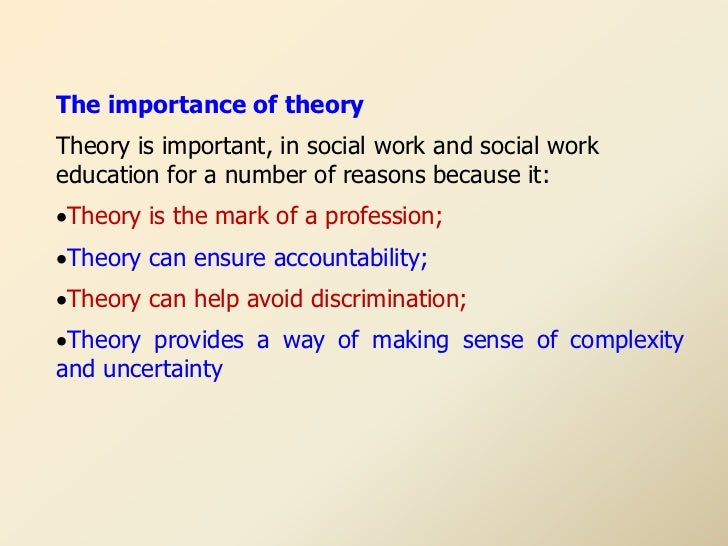 """the aspects of social work theories By anjum shah """"forget everything you've learned at university, you won't need any of that theory nonsense here"""" this was amongst the first things i heard on my final social work placement anti-intellectualism was rife, and widely advocated by my practice educator and some peers during my hospital."""