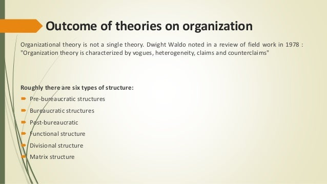 organisational theory essay Commons-based peer production (cbpp) is a new model of socio-economic production in which groups of individuals cooperate with each other without a traditional hierarchical organisation to produce common and public goods, such as wikipedia or gnu/linux.