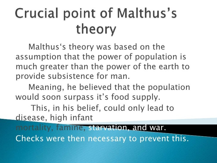In 1798 thomas malthus wrote an essay on the principle of population in which he argues that