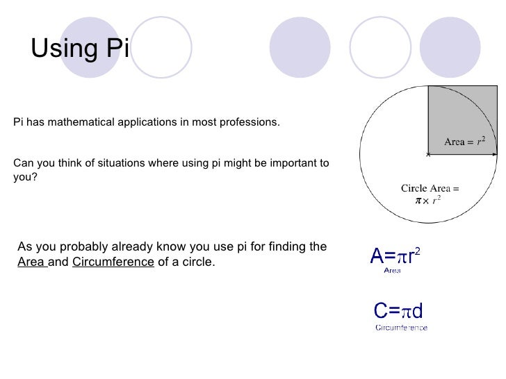 Using PiPi has mathematical applications in most professions.Can you think of situations where using pi might be important...