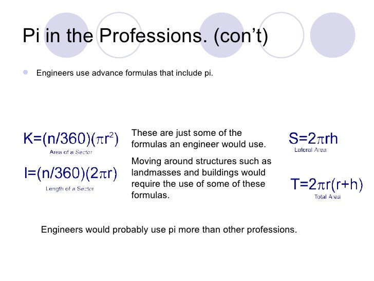 Pi in the Professions. (con't) Engineers use advance formulas that include pi.                           These are just s...