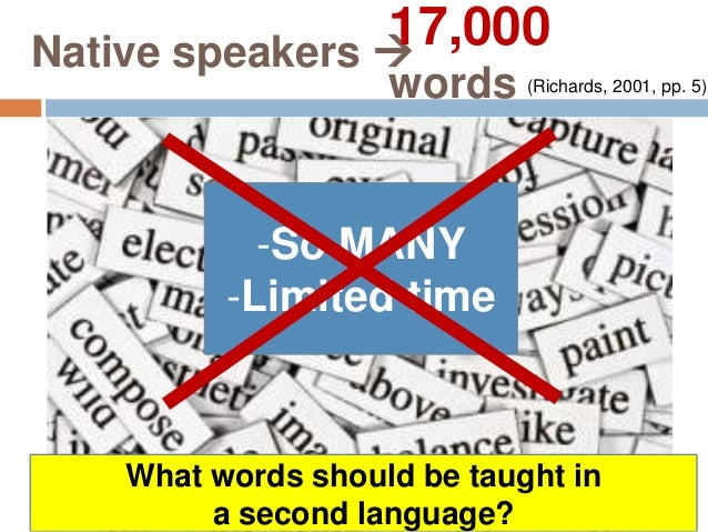 Vocabulary Selection  Choose randomly Unreliable result Ex1: Teaching Cantonese (Li and Richards 1995)  Words occurring...