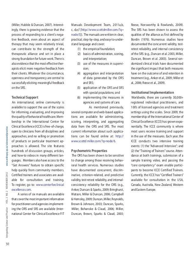 IntegratingScienceandPracticeVol.2no.2noVember2012www.ordrepsy.qc.ca/scienceandpractice 30 (Miller, Hubble & Duncan, 2007)...