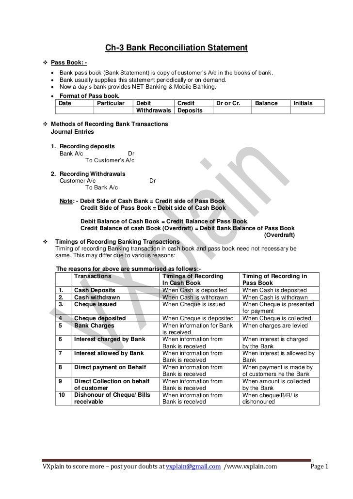 CACPT Accounts Bank Reconcilation Statement Revision Sheet – Bank Reconcilation Format
