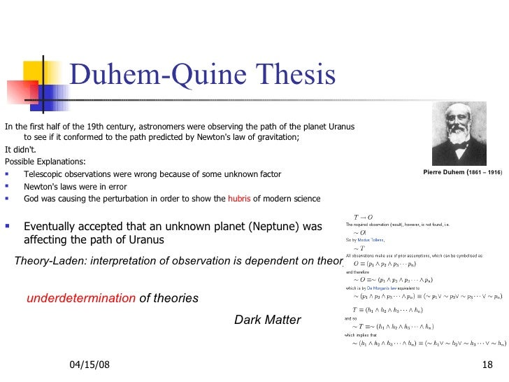 duhem-quine thesis popper It is proposed to teach students about important issues in the philosophy of physics, including bacon's induction, popper's falsifiability, and the duhem-quine thesis, all in light of the dark.