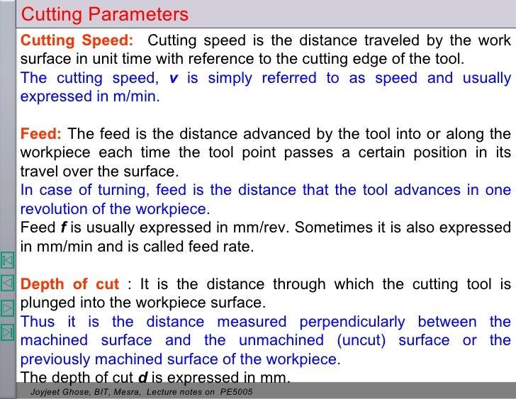 Cutting ParametersCutting ...