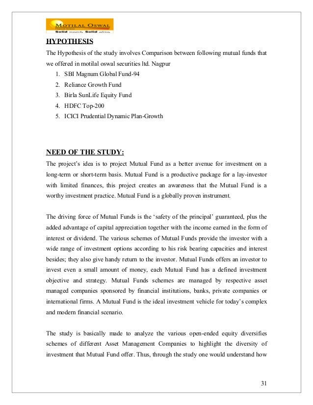 project report on comparative study between the mutual fund of hdfc and icici Comparative analysis of mutual fund on the basis of alpha,  comparative study of mutual funds on the bases of alpha,  hdfc mutual fund was setup on june 30,.