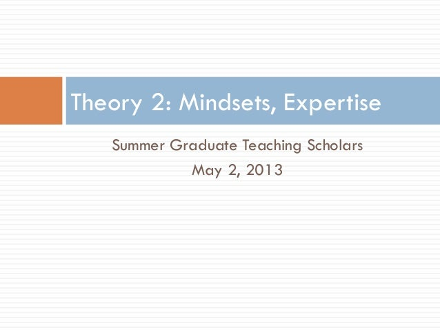 Summer Graduate Teaching ScholarsMay 2, 2013Theory 2: Mindsets, Expertise