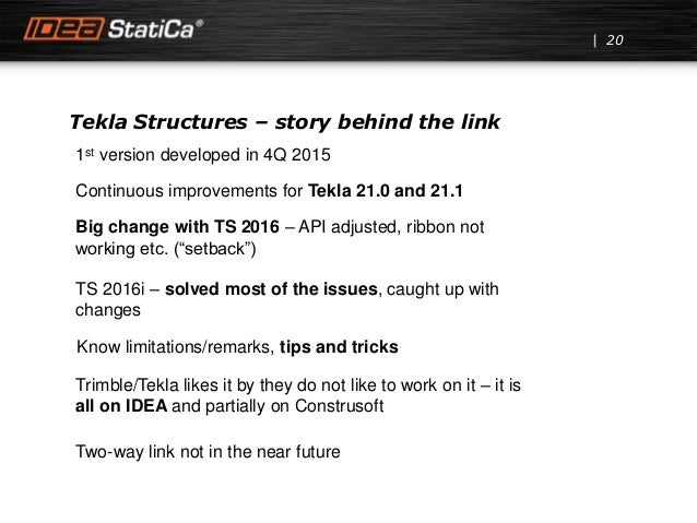 Tekla Structures – story behind the link 20 1st version developed in 4Q 2015 Continuous improvements for Tekla 21.0 and 21...