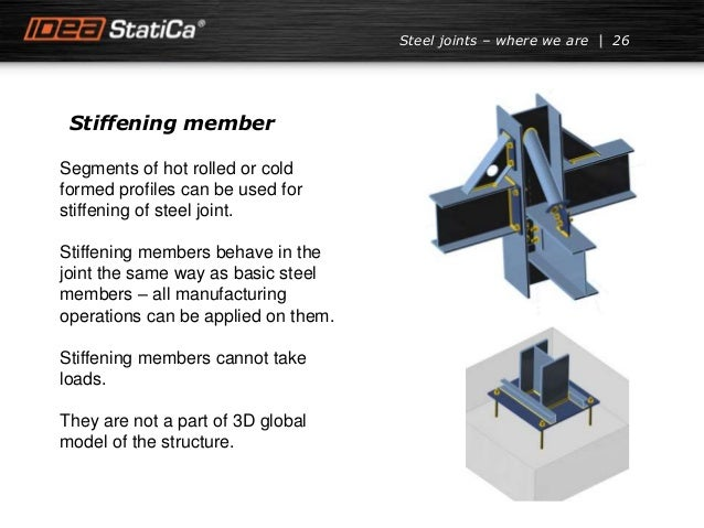 Stiffening member 26Steel joints – where we are Segments of hot rolled or cold formed profiles can be used for stiffening ...