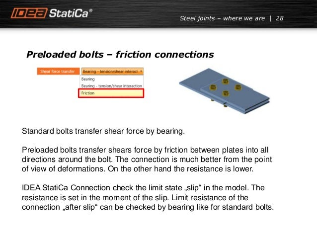 Preloaded bolts – friction connections Standard bolts transfer shear force by bearing. Preloaded bolts transfer shears for...
