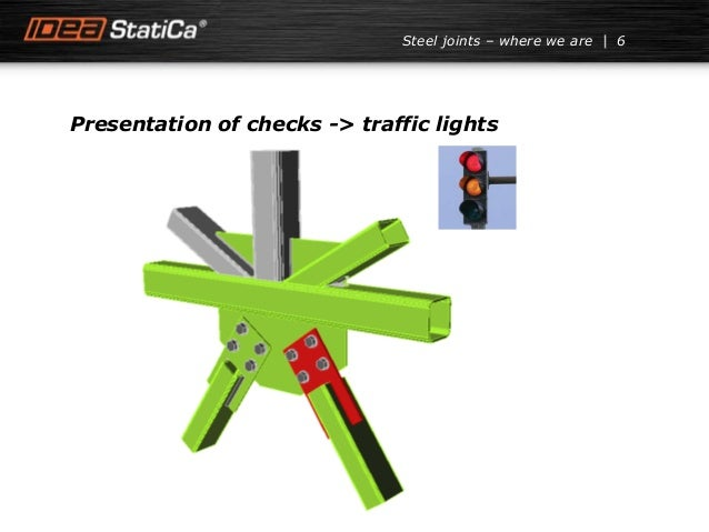 Presentation of checks -> traffic lights 6Steel joints – where we are