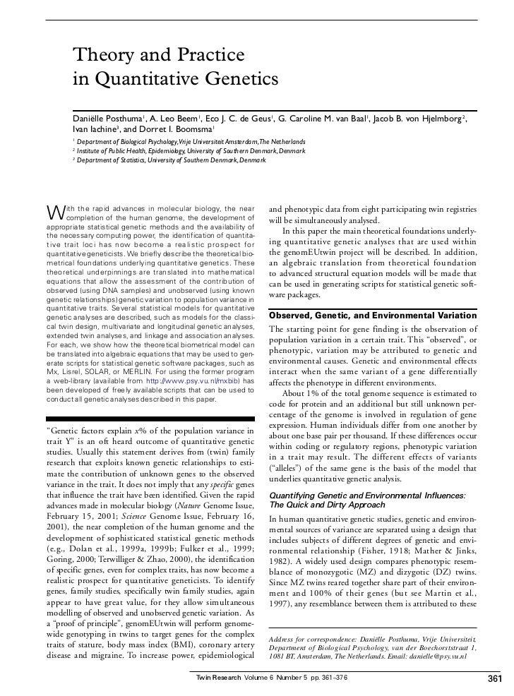 Theory and Practice        in Quantitative Genetics        Daniëlle Posthuma1, A. Leo Beem 1, Eco J. C. de Geus1, G. Carol...