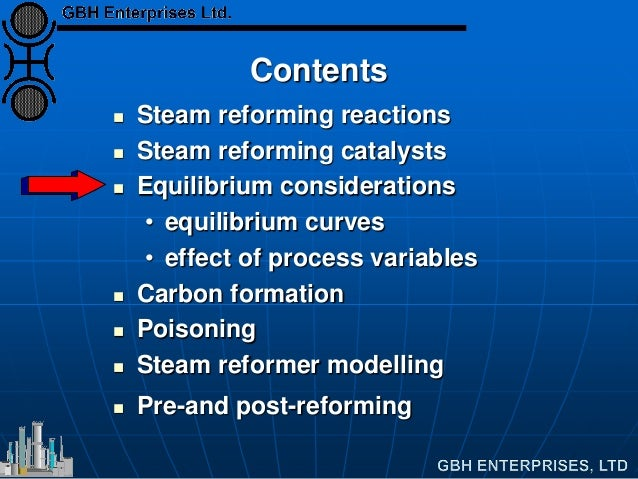 Contents  Steam reforming reactions  Steam reforming catalysts  Equilibrium considerations • equilibrium curves • effec...