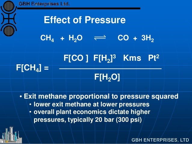 Effect of Pressure • Exit methane proportional to pressure squared • lower exit methane at lower pressures • overall plant...