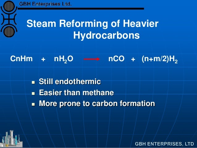 Steam Reforming of Heavier Hydrocarbons CnHm + nH2O nCO + (n+m/2)H2  Still endothermic  Easier than methane  More prone...