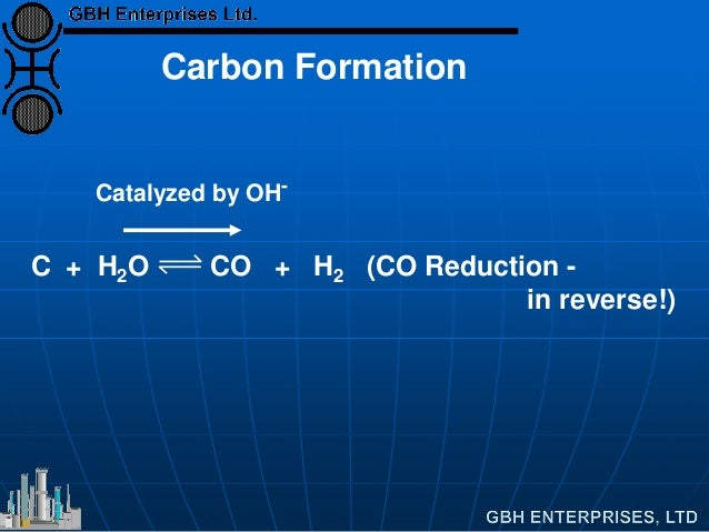 Carbon Formation C + H2O CO + H2 (CO Reduction - in reverse!) Catalyzed by OH-