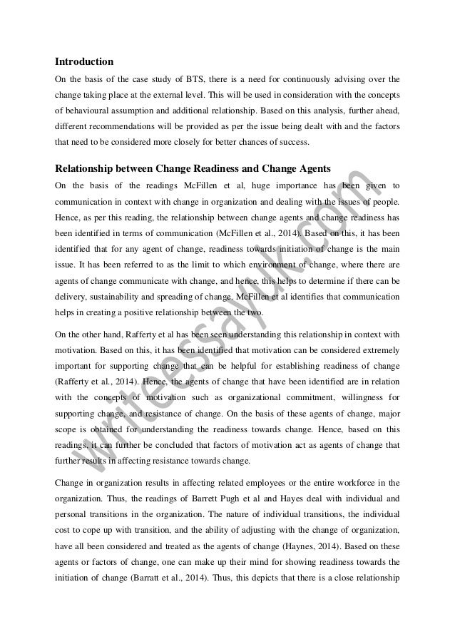 Theory application and case study analysis- bts