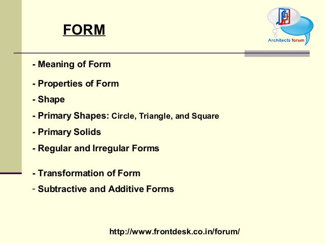 Theory of design form for Definition of form and space in architecture
