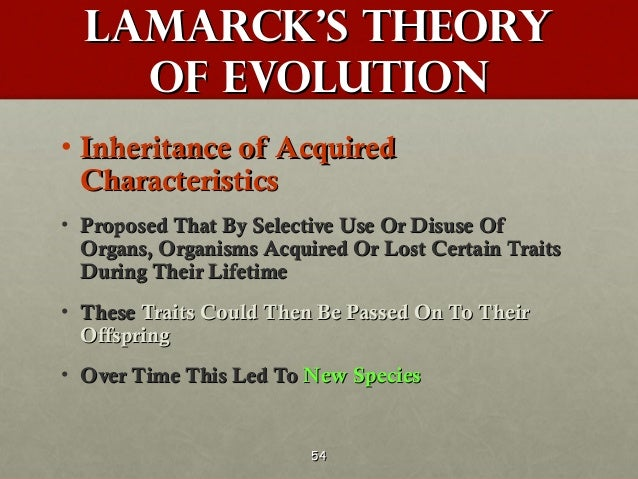 a description of the theory of evolution by lamarck Thomas henry huxley was one of the first adherents to darwin's theory of evolution  by lamarck and robert chambers  , huxley rejected the then.