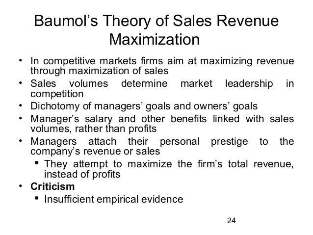 Baumol's Sales Revenue Maximization Model