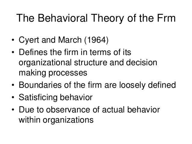 theory of the firm managerial behavior Theory of the firm: managerial behavior, agency costs and ownership structuremichael jensen and william meckling: journal of financial economics.